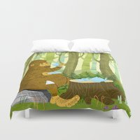 bigfoot Duvet Covers featuring Bigfoot Busted by Tim Paul