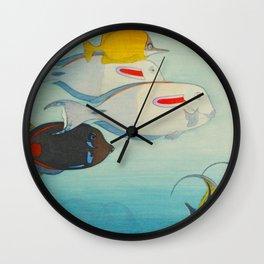 Fishes of Honolulu Vintage Japanese Woodblock Print Tropical Colorful Sea Life Hiroshi Yoshida Wall Clock