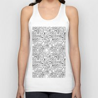 robots Tank Tops featuring Infinity Robots Black & White by Chris Piascik