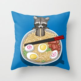 Raccoon Ramen Throw Pillow