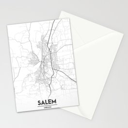 Minimal City Maps - Map Of Salem, Oregon, United States Stationery Cards