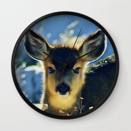 Blue Baby Deer in Winter Light by CheyAnne Sexton Wall Clock