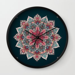 Winter holidays doodles mandala design Wall Clock