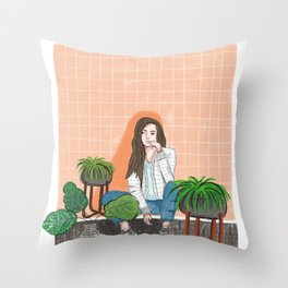 girl in peach with plants illustration painting Throw Pillow