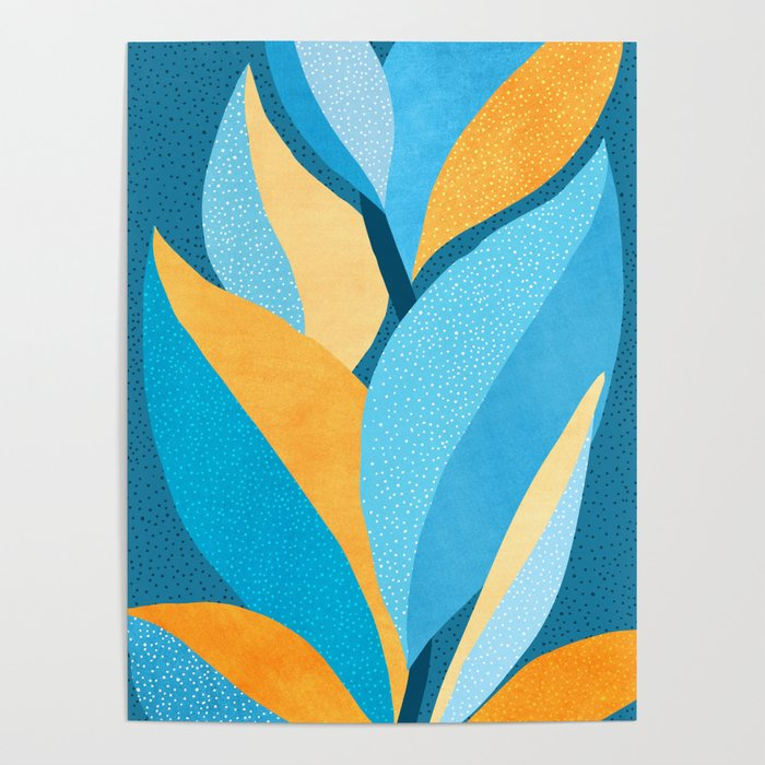 Fire And Ice Gold And Teal Abstract Plant Painting Poster By Kristiangallagher