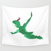 peter pan Wall Tapestries featuring Peter Pan baby  by xiari
