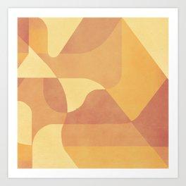 Geometric Pattern in Summer Orange Art Print