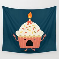 cupcake Wall Tapestries featuring Cupcake on fire by Picomodi