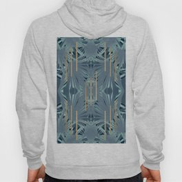 Tropical Art Deco 1.1a Blue, Green, Gold Hoody
