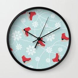 Winter Ice Skating Wall Clock