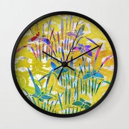 Spring Batik Butterfly Stencil Design - Lemon Yellow | Chinoiserie Chic Watercolor  Wall Clock