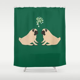 Pug Mistletoe Shower Curtain