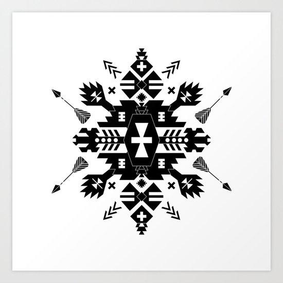 Tribal Black and White Art Print