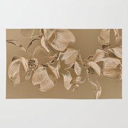 Dogwood Tree Flowers (sepia-light) Rug