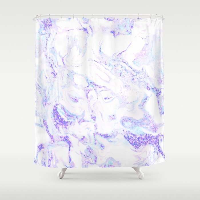 Pastel Marble Purple Blue Glitter Shower Curtain By Naturemagick