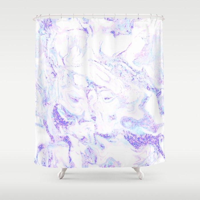 Pastel Marble Purple Blue Glitter Shower Curtain