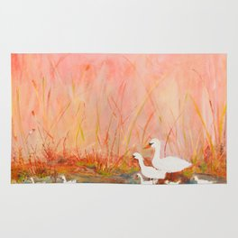 Gooses day out on the pond Rug