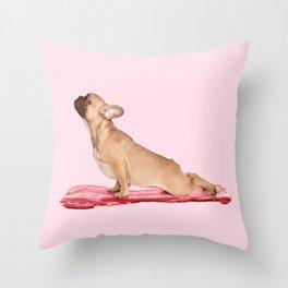 BACON AND YOGA Throw Pillow