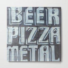 Beer, Pizza, Metal Metal Print