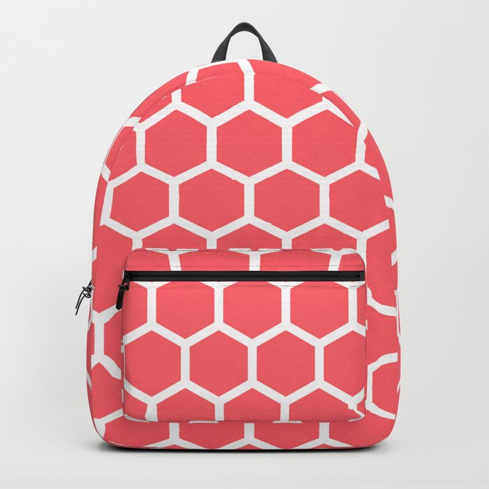 Coral Red Honeycomb Backpack