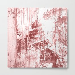 Grungy Wall,rusty red Metal Print