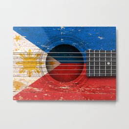 Old Vintage Acoustic Guitar with Filipino Flag Metal Print