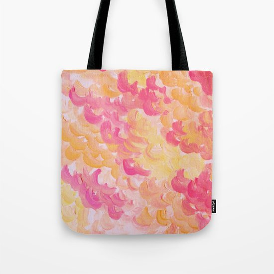 PINK PLUMES - Soft Pastel Wispy Pretty Peach Melon Clouds Strawberry Pink Abstract Acrylic Painting  Tote Bag