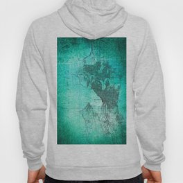 Turquoise Seattle Map Design Hoody