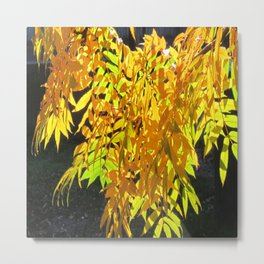 Abstract Golden Foliage Metal Print