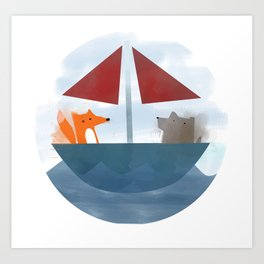 Fox & Wolf in a Tub Art Print