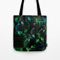 green lantern Tote Bags featuring Lantern - green by Emma Stein