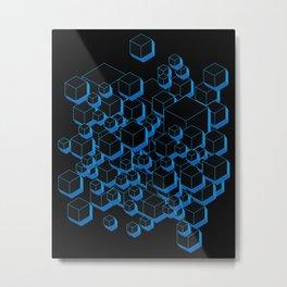 3D Futuristic Cubes Metal Print