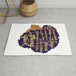 Black Girl Magic - Descendants of Queens and Kings Determined To Rise Faux Gold Afro Woman Rug