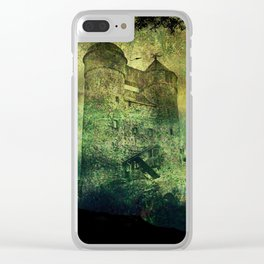 Dark castle behind trees Clear iPhone Case