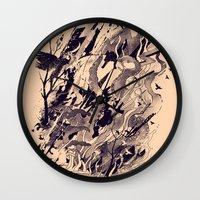 chaos Wall Clocks featuring Chaos by nicebleed