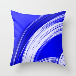 Semicircular sections of blue metal with intersections of bright strings.  Throw Pillow