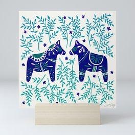 Swedish Dala Horses – Navy & Blue Palette Mini Art Print