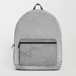 Silver Platinum Geometric White Mable Cubes Backpack