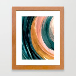 Breathe: a vibrant bold abstract piece in greens, ochre, and pink Framed Art Print