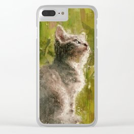 Cute abstract kitten Clear iPhone Case