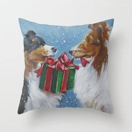 Christmas Shetland Sheepdogs dog art from an original painting by L.A.Shepard Throw Pillow