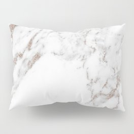 Rose gold shimmer vein marble Pillow Sham