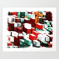 Mint Red Shipping Containers  Art Print