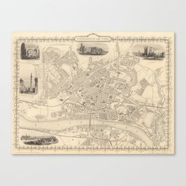 Vintage Map of Newcastle England (1851) Canvas Print