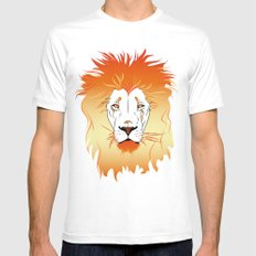 Fire Lion White Mens Fitted Tee MEDIUM