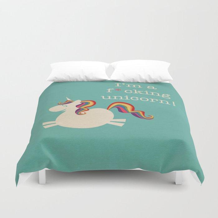 Unicorn - I'm a maturely speaking unicorn!!! Duvet Cover