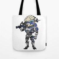 garrus Tote Bags featuring Mass Effect 3: Garrus Vakarian Chibi by SushiKitteh'sCreations
