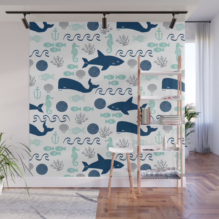 Nautical Ocean Animals Sharks Whales Seahorses Wave Pattern Sea Life