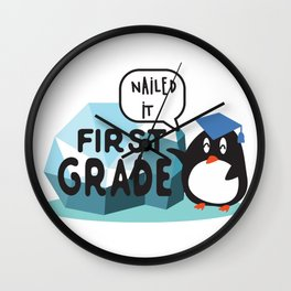 First Grade, Nailed it - Student, Kids Back To School, First day of School, Graduation. Wall Clock