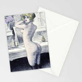 Hand colored Nude Boudoir Blond Blue Eyes Black Stockings Red Lips Stationery Cards